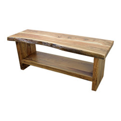 Western Wood TV Stand - Solid wood. And we mean Solid wood! Heavy and each piece different than the last. The tops are approximately 3 Inches Thick. This style can go with almost Everything, even contemporary if you so desire. Log cabin? Rustic mountain get-away? Rustic hotel setting in Jackson, WY? Perfect fit. These are Really popular so wait times can be up to 120 days. Your table will look similar to the table in the picture but not exactly the same. This is a serious piece of furniture and worth Every dollar.