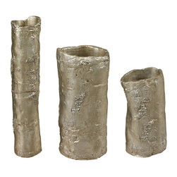 Sterling Lighting - Sterling Lighting Birch Bark Vases, Set of 3 - Sterling Lighting Birch Bark-Birch Bark Vases 112-1121/S3