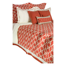 Rizzy Home - Taza Paprika Calif King Size Duvet with Poly Insert Bed Set - Rich coral and creamy ivory come together to create this exquisite duvet collection whose overall pattern is reminiscent of traditional Moroccan tile patterns. Highly stylized and graphic this fabric is full of movement, and in combination with the color palette is classic with a touch of eclectic style.