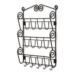 Spectrum Diversified Designs - Scroll Mail & Letter Holder, Black - Organize your mail, bills, keys and more with the Scroll Wall Mount Letter Holder. It provides a central location to keep your life organized. Store your mail neatly in the three slots and organize up to five sets of keys on the bottom hooks. Made of sturdy steel, the beautiful scroll design will add a traditional touch to your home.
