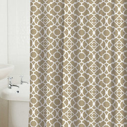 None - Lovely Lattice Taupe Shower Curtain - Lend your bathroom a bold,modern look with the addition of this taupe poly-cotton shower curtain. This shower curtain is made from a sleek blend of polyester and cotton for long-lasting good looks and will lend an up-to-the-minute vibe to your space.