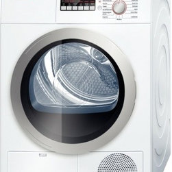 """Bosch - Axxis 500 Series WTB86201UC 24"""" Ventless Electric Condensation Dryer with 4 cu. - The new design of the Bosch laundry units offers the flexibility to install the units under-counter side-by-side or stacked The Sensitive Drying System uses warm mild air to gently dry laundry The drum design creates a cushion of air ensuring gentle ..."""