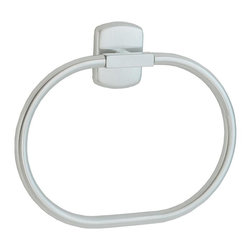 Smedbo - Cabin Towel Ring in Brushed Chrome Finish - Concealed fastening. For guest or bath towel. 6.5 in. W x 8.5 in. H