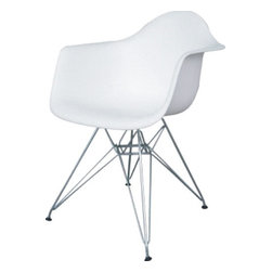 Fine Mod Imports - Wire Leg Dining Chair White - The Wire Leg Dining Arm Chair is a truly comfortable chair, it has a high flexible back with good 'give' and a deep seat pocket supported by an elegant Wire Base. Material: White ABS Frame.