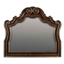 "Hooker Furniture - Hooker Furniture Adagio Mirror - Grand scale classic design and soft flowing shapes are married with a rich dark finish to give birth to the stunning Adagio collection. Hardwood Solids with Resin and Beveled Glass. Dimensions: 50""W x 2.5""D x 44""H."