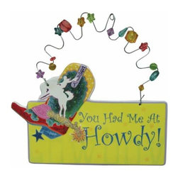 WL - 3.25 Inch You Had Me At Howdy! Ceramic Wire with Beads Hanging Plaque - This gorgeous 3.25 Inch You Had Me At Howdy! Ceramic Wire with Beads Hanging Plaque has the finest details and highest quality you will find anywhere! 3.25 Inch You Had Me At Howdy! Ceramic Wire with Beads Hanging Plaque is truly remarkable.