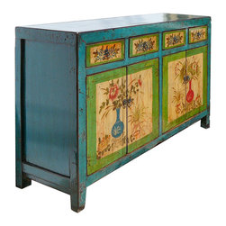 Golden Lotus - Mongolian Antique Turquoise Flower Vase Hand Painted Buffet Table TV Stand Cabin - This is a Mongolian antique buffet cabinet which is made of solid elm wood.  It can be also used as TV stand cabinet.  Especially, the top and both sides have turquoise lacquered color, and the front doors and drawers have flowers and vase hand painting on it.