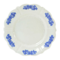 Lavish Shoestring - Consigned 6 Medium Dinner Plates with Lavender Grapes, Antique English Victorian - This is a vintage one-of-a-kind item.