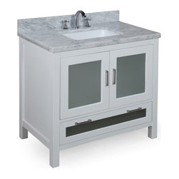 Kitchen Bath Collection - Manhattan 36-in Bath Vanity (Carrara/White) - This bathroom vanity set by Kitchen Bath Collection includes a white cabinet with tempered glass windows, soft close drawers and self-closing door hinges, double-thick Italian Carrara marble countertop (an incredible 1.5 inches at the edge!), single undermount ceramic sink, pop-up drain, and P-trap. Order now and we will include the pictured three-hole faucet and a matching backsplash as a free gift! All vanities come fully assembled by the manufacturer, with countertop & sink pre-installed.