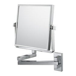"""Square Double Arm Wall Mirror - The modern style of the Square Double Arm Wall Mirror makes it a wonderful piece of décor for any bathroom. Being 7 ¾"""" across, containing 1x/3x magnification mirrors, and a 12 ¾"""" arm extension, it can transform any bathroom or vanity into a lap of luxury."""