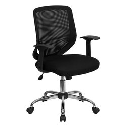 Flash Furniture - Flash Furniture Mid-Back Black Mesh Office Chair with Mesh Fabric Seat - This value priced mesh office task chair will accommodate your essential needs for your home or office. chair features a breathable mesh back with a comfortably padded mesh seat. chair is Height adjustable to conform to several desk sizes. [LF-W95-MESH-BK-GG]