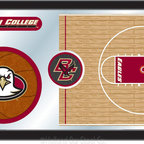 "Holland Bar Stool - Holland Bar Stool Boston College Basketball Mirror - Boston College Basketball Mirror belongs to College Collection by Holland Bar Stool The perfect way to show your school pride, our basketball Mirror displays your school's symbols with a style that fits any setting.  With it's simple but elegant design, colors burst through the 1/8"" thick glass and are highlighted by the mirrored accents.  Framed with a black, 1 1/4 wrapped wood frame with saw tooth hangers, this 15""(H) x 26""(W) mirror is ideal for your office, garage, or any room of the house.  Whether purchasing as a gift for a recent grad, sports superfan, or for yourself, you can take satisfaction knowing you're buying a mirror that is proudly Made in the USA by Holland Bar Stool Company, Holland, MI.   Mirror (1)"