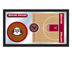 """Holland Bar Stool - Holland Bar Stool Boston College Basketball Mirror - Boston College Basketball Mirror belongs to College Collection by Holland Bar Stool The perfect way to show your school pride, our basketball Mirror displays your school's symbols with a style that fits any setting.  With it's simple but elegant design, colors burst through the 1/8"""" thick glass and are highlighted by the mirrored accents.  Framed with a black, 1 1/4 wrapped wood frame with saw tooth hangers, this 15""""(H) x 26""""(W) mirror is ideal for your office, garage, or any room of the house.  Whether purchasing as a gift for a recent grad, sports superfan, or for yourself, you can take satisfaction knowing you're buying a mirror that is proudly Made in the USA by Holland Bar Stool Company, Holland, MI.   Mirror (1)"""