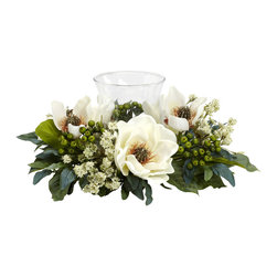 Nearly Natural - Nearly Natural Magnolia Candelabrum Silk Flower Arrangement - The Magnolia is the perfect flower when you want a soft, warm feeling from your home decor. And this Magnolia Candelabrum perfectly captures those feelings. With an array of magnolia blooms, leaves, stems, and berries surrounding a single candle holder, this makes an ideal centerpiece, mantle, or shelf decoration. Heck, put it anywhere and watch the glow!