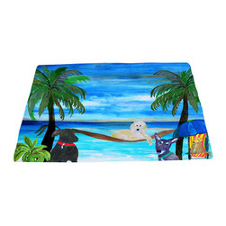 xmarc - Animal Area Rugs, Dogs On The Beach - Beach dogs animal area rugs, art appears on the top side, which is made of a soft plush polyester fabric. Bottom is made of durable white rubber mat with rounded and sewn corners.
