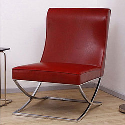 Milano Burnt Red Leather Lounger - If Santa needs a place to rest while enjoying his milk and cookies, this is it. The burnt red leather and chrome paired together in this chic design are fit for any modern day Claus.