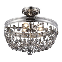 Murray Feiss - Murray Feiss Malia Transitional Semi-Flush Mount Ceiling Light X-NP213FS - Making a declarative and sparkling statement in any room, the Malia lighting collection is a cool, contemporary interpretation of classic crystal light fixtures, updated with clean lines and featuring fashionable smoke gray crystals accented by a Polished Nickel finish.