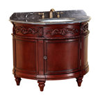 "Bosconi - 42"" T-3608 Classic Single Vanity - Antique Red - This particular Bosconi piece offers a unique look with its oval design. Adding to its Classic bold look is the intricate detail and quality. This model features one cabinet with Antique Brass hardware, as well as a Dark Emperador Marble countertop to complement this piece's Antique Red finish. This Bosconi Classic vanity will become a centerpiece in any location."