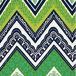 Tangier Frame Print Fabric, Sea Grass