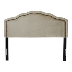 Great Deal Furniture - Wimbley Crown Design Queen Size Headboard - The Wimbley headboard is a great piece to add elegance to your bedroom. With its studded accents, contemporary style and adjustable legs, you can spruce up the look of any queen size bed frame with this headboard.