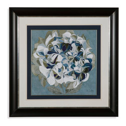 Bassett Mirror - Bassett Mirror Framed Under Glass Art, Elegant Hydrangeas II - Featuring a large artistic interpretation of a Hydrangea in various shades of blue, white, green, and gray, this framed piece explores the abstract and bewildering anatomy of its beautiful subject. The background resembles marble stone, echoing the examination of patterns in nature exhibited by the flower itself. Display it on its own, or among the rest of the pieces featured in the Elegant Hydrangeas series.