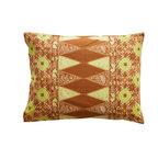 Sadas Life - Bruket Collection, Brown and Chartruese, Standard - Traditional Indonesian double tumpal center motif, envelope closure, Standard (20″ x 26″), King (20″ x 36″).