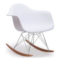 """Tosh Furniture - Canton Chair White - A modern classic, the Canton chair is an awesome piece for any space. The seat is polypropolene with a wire steel and soild wood base. White; Polypropylene; Wood & Chromed Steel Finish; No assembly required; Overall dimensions: 24.4""""W x 27""""L x 26""""H; Seat Height: 14.6""""; Seat Depth: 16.5""""; Seat Width: 16.5""""; Arm Height from Floor: 22.4"""""""