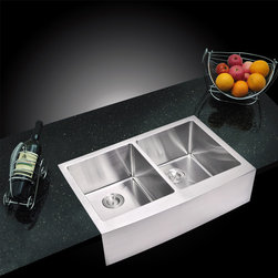 Water Creation - Water Creation 50/50 Double Bowl Stainless Steel Apron Front Kitchen Sink (33 x - Water Creations stainless steel sinks are the ultimate cook's sink. Made of highly durable stainless steel,Water Creation's sinks wont stain,tarnish,or rust over time. They are also heat resistant and will not discolor from hot pans.