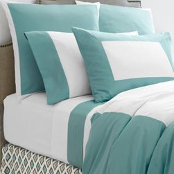 Garnet Hill - Palazzo Percale Sham - Standard - Aqua Haze - This luxurious pure cotton Italian bedding melds modern colorblocking with the elegance of sateen fabrics. Combines the crispness of 200 thread count percale with the silky smoothness of 300 thread count sateen. Flat sheet is percale with colored sateen border at the top. Comforter cover is white percale with wide colored sateen border and percale back. Standard shams backed in colored sateen. Continental shams are backed in white percale. Fitted sheet is solid white percale. Italy.