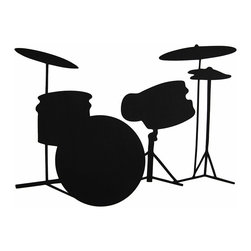 n/a - Children`s Chalkals Drum Set Peel and Stick Chalkboard Wall Decals - This set of 14 giant peel and stick wall decals adds a fun accent to any wall in your home, especially children`s rooms or playrooms. The decals form a large drum set, and they can be written or drawn on with pieces of chalk (included). They are washable, reusable, and repositionable without causing damage to surfaces, ensuring years of use.