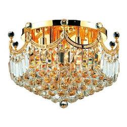 Elegant Lighting - Elegant Lighting 8949F20G Corona 9-Light, Single-Tier Flush Mount Crystal Chande - Elegant Lighting 8949F20G Corona 9-Light, Single-Tier Flush Mount Crystal Chandelier, Finished in Gold with Clear CrystalsElegant Lighting 8949F20G Features: