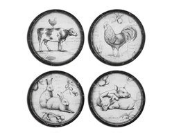 Uttermost - Farmer's Choice Art Set of 4 - This collection of farm animals is oil reproductions that feature the image printed on board. Frames are metal with heavily distressed black and medium brown undertones with a light gray glaze.