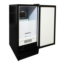 Vinotemp - Automatic Under Counter Ice Maker - Freestanding installation. Black color. Includes optional casters for mobile installation. 14.63 in. W x 23.25 in. D x 33.38 in. H (80 lbs.). Lead time: 3 to 5 days. Ice storage bin and plastic scoop. Automatic overfill protection. Produces and store ice up to 44 lbs. per day. Can be recessed, built-in. Stainless steel door. Full-length door handle. Front exhaust. Warranty. Owners Manual