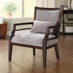 None - Philly Framed Chair Grey - This lush oversized wood accent chair is a necessity to any home decor. The frame has a wood stained merlot finish,and the upholstery is in a gray luxurious polyester that feels like velvet. You will love sinking into this stylish and comfy chair.