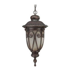 Nuvo - 1 Light Hanging Lantern - Clear Seeded Glass - Clear Seeded Glass Shade. UL Wet Rated. Fluorescent . ENERGY STAR Rated. Energy Saver. Color/Finish: Burlwood. Max wattage: 18w. Bulb(s) included. 9.5 in. W x 22.125 in. H