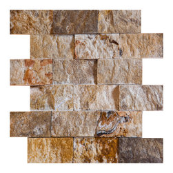 "Scabos Travertine - Scabos Split Face Travertine Tile - 2""x4"" travertine split-faced brick mosaic tile."