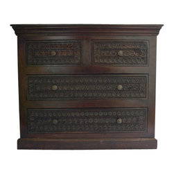 Carved Wooden Dresser, Dark Walnut Stain - 43x36x18""
