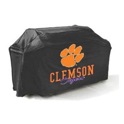 "Mr Bar B Q - Clemson Tigers Grill Cover - Clemson Tigers Grill Cover. . There's no better way to show of your team pride than this college grill cover. with a huge custom designed logo on the front you'll be the envy of your neighbors at the next block party or BBQ. Measuring 65x25x40"" it fits most gas grills but it's more than just a show piece for your backyard it's made of high quality materials that will protect your grill from the elements. This cover resists mold mildew and extreme temperatures. The underside is soft protecting your grills finish while the outer layer is coated to protect from rain UV Rays pollen dirt sap and rain keeping your grill protected throughout the seasons and ready for the next big game! This item cannot be shipped to APO/FPO addresses. Please accept our apologies."