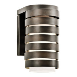 """Kichler - Contemporary Kichler Roswell 9"""" High Bronze Outdoor Wall Light - Contemporary rustic outdoor wall light. Olde bronze finish. Metal and glass construction. Cased satin etched opal glass shades. Maximum 75 watt or equivalent bulb (not included). Great for entryways porches and flanking garages or doors. 9"""" high. 5"""" wide. 6"""" deep. Extends 6"""" from wall. Backplate is 6 1/4"""" high 5"""" wide.   Contemporary rustic outdoor wall light.  Olde bronze finish.  Metal and glass construction.  Cased satin etched opal glass shades.  Maximum 75 watt or equivalent bulb (not included).  Great for entryways porches and flanking garages or doors.  9"""" high.  5"""" wide.  6"""" deep.  Extends 6"""" from wall.  Backplate is 6 1/4"""" high 5"""" wide."""