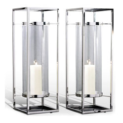 Kathy Kuo Home - Pair Adour Silver Glass Modern Square Tall Hurricane Candle Holders - Suspended within a stainless steel frame structure, this pair of lanterns makes an elegant modern statement in polished nickel.