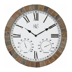 River City Clocks - River City 15 Inch Time, Temp and Humidity Indoor/Outdoor Tile Clock - This 15 inch wall clock by River City Clocks is surrounded by textured ceramic rock tiles and is designed to be used both indoors and outdoors. Besides accurately keeping track of time it indicates changes in the humidity and temperature with two instruments located at the bottom of the clock dial. The exact coloration of the tiles may vary slightly from clock to clock. This clock requires one AA battery to operate (not included). This includes a two year limited warranty covering workmanship and manufacturers defects. Measures time, temperature, and humidity. Designed to be used outdoors and indoors. Made with textured ceramic rock tiles. Requires one AA battery to operate. Two year limited warranty covering workmanship and manufacturers defects.