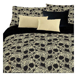 Veratex Inc - Flower Skull Comforter Set Floral 4 Piece Full Bedding - Features: