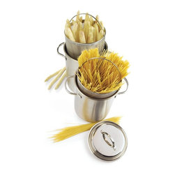 Demeyere - Demeyere Resto Asparagus and Pasta Cooker - 3 pc. Set 4.8 qt. Multicolor - 8016 - Shop for Cookware from Hayneedle.com! The Demeyere Resto Asparagus and Pasta Cooker - 4.8-quart 3-piece Set makes cooking pasta or asparagus a joy. This set includes a tall stockpot with two helper handles a pasta insert with a handle and tight-fitting lid. All pieces were manufactured from 18/10 stainless steel with a 4mm thick 3-layer base to quickly and evenly conduct heat are oven-safe and work on all cooktops including induction. Conveniently dishwasher-safe. About Demeyere CookwareFounded in 1908 Demeyere is a family-owned company based in Belgium. The brand has earned a devoted following for its high-quality stainless steel cookware which features the latest culinary innovations. Used by professional chefs and home cooks worldwide Demeyere cookware combines performance durability sleek design and technological innovation. In the late 1960s the company pioneered the use of layered aluminum construction for exceptional heat conduction. Other innovations include InductoSeal 7-PlyMaterial and TriplInduc technologies. The InductoSeal base features seven different alloys including a copper disk for maximum heat distribution. Demeyere's patented 7-PlyMaterial consists of a thick aluminum-alloy core sandwiched between a layer of pure aluminum on either side for even heat distribution. TriplInduc combines three metal alloys to make the cookware suitable for all types of cooking methods including induction. Pans and pots feature ergonomic welded handles rims designed for dripless pouring and durable stick-resistant finishes. They're suitable for use on any cooktop and are dishwasher-safe for easy cleanup.