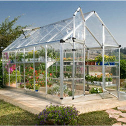 Poly-Tex, Inc. - Palram Snap & Grow 6' x 12' Hobby Greenhouse - Silver - The Snap & Grow 6' x 12' Silver Hobby Greenhouse features the SmartLock connector system. Heavy duty aluminum frames assemble easily without a lot of hardware. Crystal-clear SnapGlas panels slide right into the frame, lock into place and are virtually unbreakable. The 6' wide Snap & Grow hobby greenhouse has a single hinged split door. You can also expand your Snap & Grow in 4' increments, to build the hobby greenhouse to suit your individual needs. Aluminum framework, clear single layer polycarbonate panels, swinging front door, rain gutter, two roof vents and a galvanized steel base kit are standard features of the Snap & Grow. Make any backyard a sanctuary-in a snap!