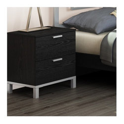 South Shore - Flexible 2 Drawer Nightstand - Perfect for the living room or the bedroom, this Flexible collection storage table features two drawers for a tidy room. The metal legs are matched with a metallic base and a rich Black Oak finish that blends well with any decor. Combine this storage table with your choice of Flexible collection items to create the ideal space to meet your needs. Features: -Two drawers with metal slides for smooth gliding.-Metal legs combined with a metallic base.-Eco-friendly.-EPP-compliant.-Forest Stewardship Council (FSC) certification.-Non-toxic materials and components construction.-Distressed black oak finish.-Metal handles in a matte metallic gray finish.-Flexible collection.-Customize your space by combining this storage table with the Flexible collection items of your choice.-Distressed: Yes.-Collection: Flexible.-Country of Manufacture: Canada.Dimensions: -Overall Product Weight: 44.00 lbs.Warranty: -Manufacturer provides five year warranty.