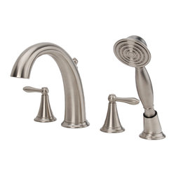 Fontaine - Fontaine Montbeliard Brushed Nickel Roman Tub Faucet with Handheld Shower - Transitional styling of this Montbeliard faucet coordinates with a wide range of designs. This faucet features washerless valves and an in-spout diverter with handheld shower.