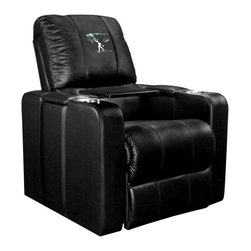 Dreamseat Inc. - Ski Cross Country Home Theater Plus Leather Recliner - Check out this awesome Leather Recliner. Quite simply, it's one of the coolest things we've ever seen. This is unbelievably comfortable - once you're in it, you won't want to get up. Features a zip-in-zip-out logo panel embroidered with 70,000 stitches. Converts from a solid color to custom-logo furniture in seconds - perfect for a shared or multi-purpose room. Root for several teams? Simply swap the panels out when the seasons change. This is a true statement piece that is perfect for your Man Cave, Game Room, basement or garage. It combines contemporary design with the ultimate comfort from a fully reclining frame with lumbar and full leg support.