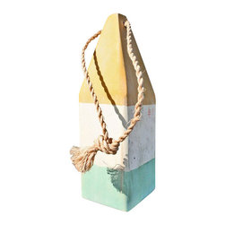 """12"""" Nautical Wood Buoy- Yellow/White/Aqua - Add a nautical element of style to your indoor or outdoor living areas. Our wooden buoys are individually hand painted in classic nautical colors. Place on a tabletop or hang from the walls."""