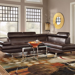 Coaster - Piper Sectional, Chocolate - Create the sleek and modern look you have been looking for with our Piper sectional. Featuring a Bonded Leather Match in chocolate or charcoal with contemporary-styled steel legs, this collection is sure to impress your guests as well as leave them comfortable. Our Piper sectional is also ready to accommodate any size living room - just add an armless chair to create more seating. Each piece also features an adjustable headrest that provides more support and can add up to four inches to the back height.