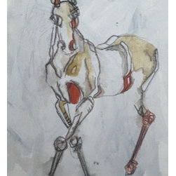 Paint Walking (Original) by Samantha Sherry - My work examines the relationships between memory, family, identity, and self. Drawing upon my equestrian past (and present) horse forms and fragments become the language through which these ideas are explored and articulated.